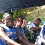 Rachel, Marissa, and Alisha ready for the boat ride
