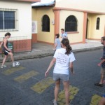 playing soccer in the street
