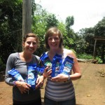 Arielle and Mary with their organic Nicaraguan coffee