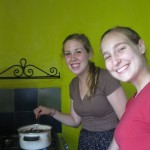 Allison and Alisha making no-bake cookies