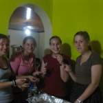 Breanna, Steph, Alisha and Alli taste testing the no-bake cookies