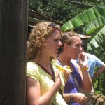 Brook and Kat eating fresh bananas