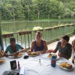 eating lunch by the pond at Selva Negra