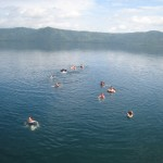 swimming in beautiful Laguna de Apoyo