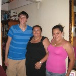 Kyle with his host mother and sister
