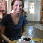 Arielle enjoying black coffee