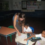 Lynelle working with one of the students