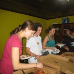 Amy, Kelsey, Lynelle getting pizza