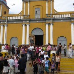 A religious procession was coming out the cathedral in La Concha