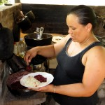 Alejandro's host mother, Yajaira, in the kitchen.