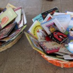 Baskets of books for the kids to pick from.