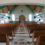 Inside the large Moravian church that Yuriy and Bobby attend.
