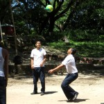 Students during recess playing volleyball.