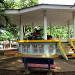 The kiosk in the park where the reading program is done.  Underneath is the library.