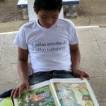 "The t-shirt reads, ""More students studying, less students working,"" a reference to many children in Nicaragua who drop out of school early in order to work in the streets."