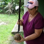 Yuriy's host mom Mabel shows how to use a machete to get the shell off the coconut.