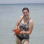 Posing with a live starfish