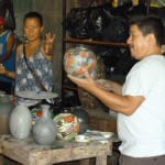 Dalena translates as Juan Paulino steps us through the pottery-making process