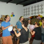 Another new game for the GC group: blowing up balloons and then popping them with a partner -- but without using hands!