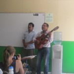 Humberto and César sang the anthem of the crusade against illiteracy