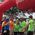 Isaiah and Natalie greeting Molly as she came across the finish line!