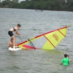 Natalie trying her hand at windsurfing.