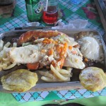Delicious chicken along other tradition Nica food...