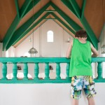 Josiah looks down from the balcony of the Moravian Church in Pearl Lagoon.