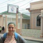 Emma outside her service site, Colegio Bautista, a primary school in downtown Matagalpa.