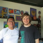 Aaron pictured with host father and local arist in his gallery.