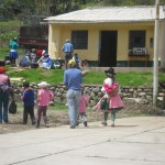 Gathering in a community high in the Andes