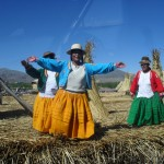 Greeting residents on the floating Uros Islands