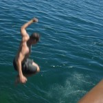 Taking the plunge into Lake Titicaca (this was not on our itinerary)