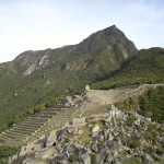 View of the terraces and Machu Picchu Summit