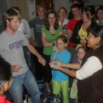 Performing a trick for Jackie, youth pastor at our church