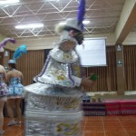 Dancing while wearing a torta (cake) costume
