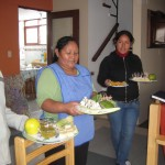 Alicia and her daughter Juliana present some Peruvian fruit for us to try