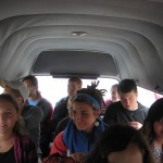 We all fit into one combi (the microbuses popular in Lima)