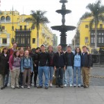 Group photo in the Plaza de Armas in downtown Lima