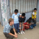 Talking with the local kids