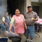 Alicia and Oswaldo; making anticuchos for lunch