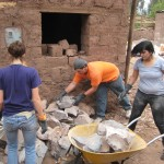 Moving rocks at Clemencia's house