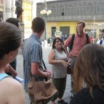 Study coordinator Celia starts our downtown tour
