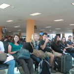 waiting for our flight at the Lima airport