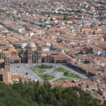 The view of Cusco's Plaza de Armas from Sacsayhuamán
