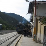 At the Ollantaytambo train station