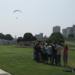 one of Lima's many parapenters glides overhead