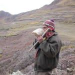 One of our guides, Porferio, encourages us with the ancient call of a conch shell