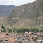 Looking down on the town of Ollantaytambo (the fortress is in the background)