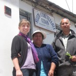 Marta with Cleli and Pastor Max outside the clinic in Quinua